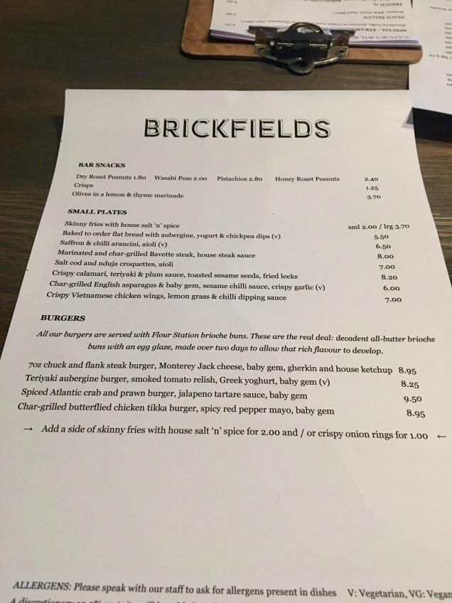 Brieckfields London food menu