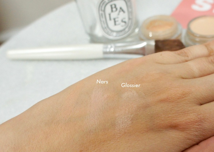 Nars Soft Matte concealer and Glossier Stretch concealer