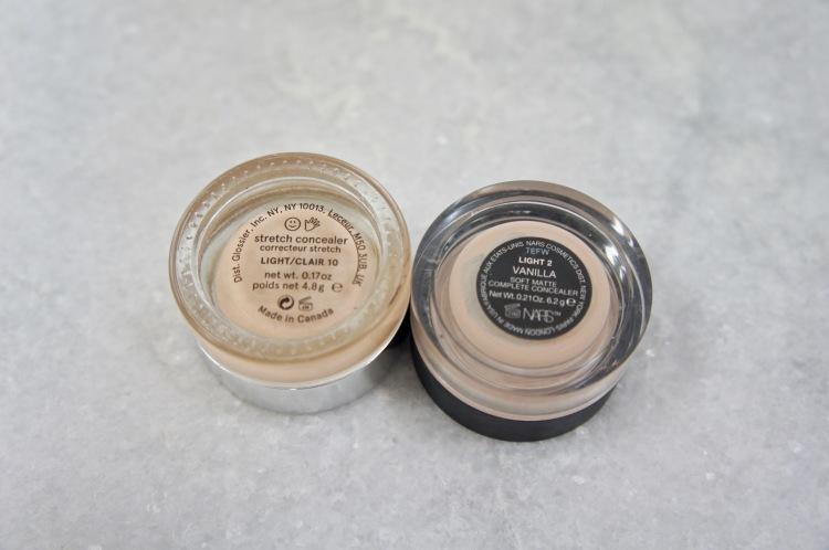 Nars Soft Matte concealer and Glossier Stretch concealer packaging