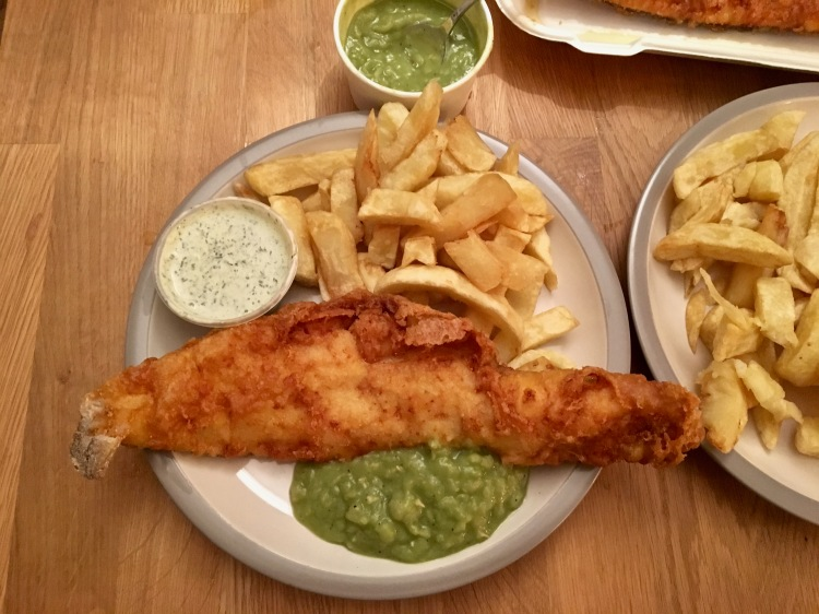 Brockley's Rock fish and chips with tartare sauce and mushy peas