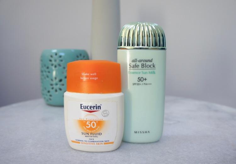 Favourite sunscreens in 2018 - Eucerin Sun Fluid Mattifying and Missha Safe Block Essence