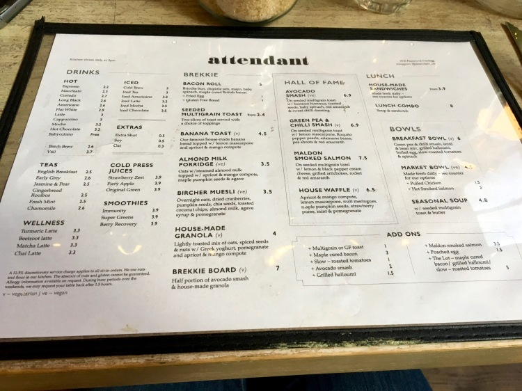 The Attendant Shoreditch Menu