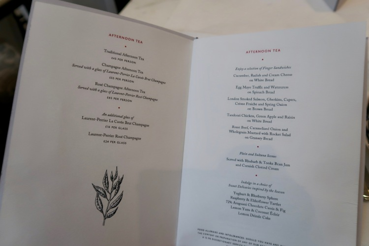 Afternoon Tea menu at the Corinthia London