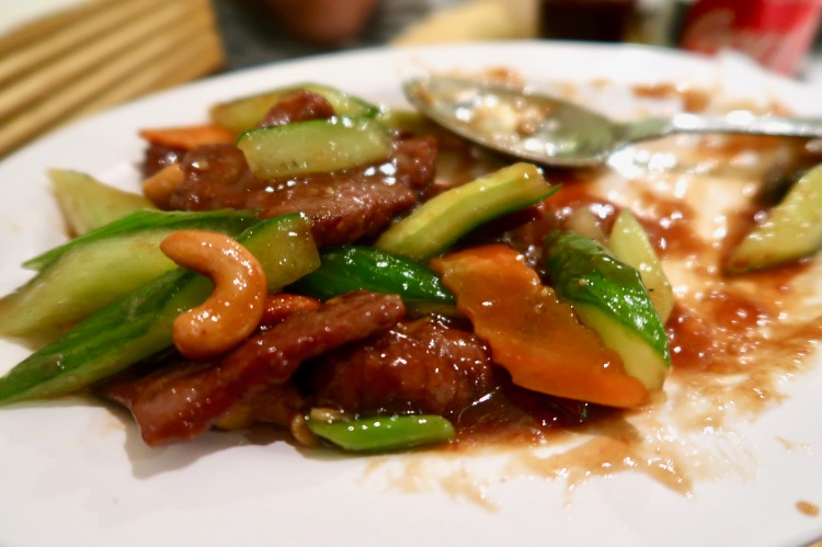 Beef stir fry with cashew nuts Four Seasons Chinatown London