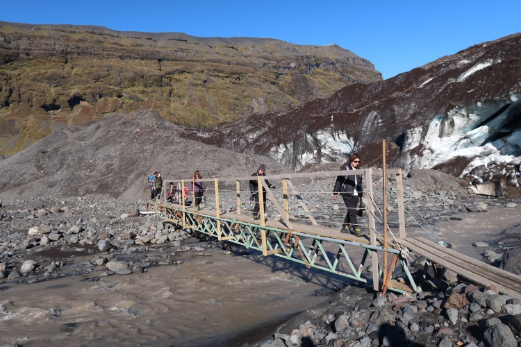 Glacier hike in Iceland bridge
