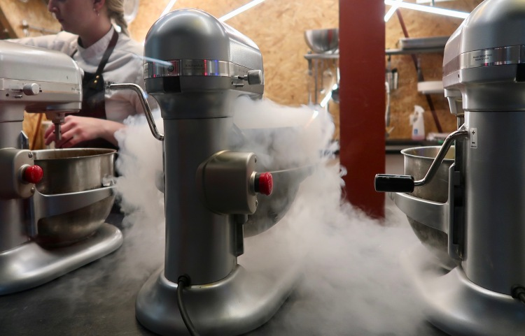 Nitrogen ice cream in Hlemmur Matholl Reykjavik, Iceland