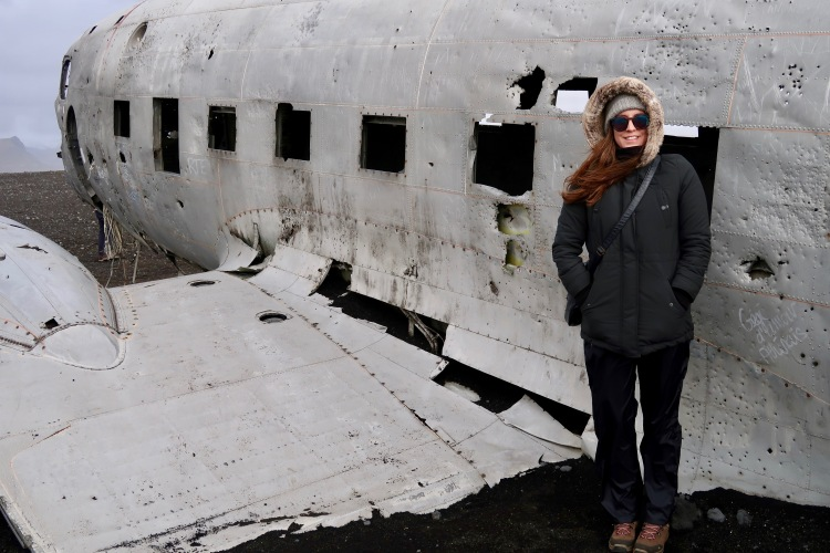 Claire Imaginarium at Plane wreck in Iceland