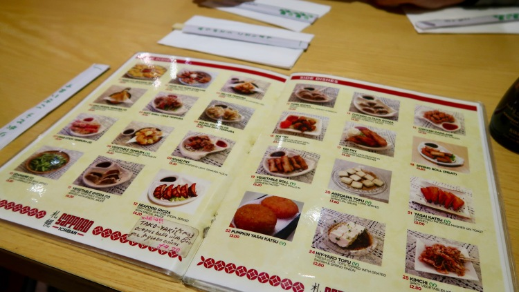 Sapporo Ichiban London menu
