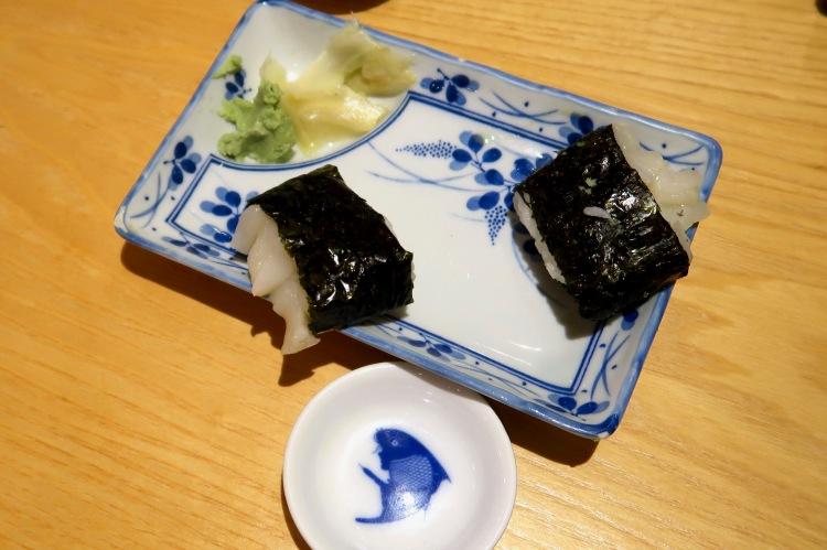 Sapporo Ichiban squid sushi