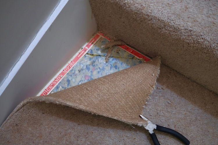 Pulling carpet off staircase