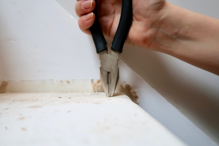 Removing staples off stairs