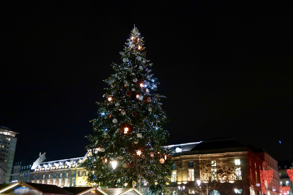 Strasbourg Christmas tree by night