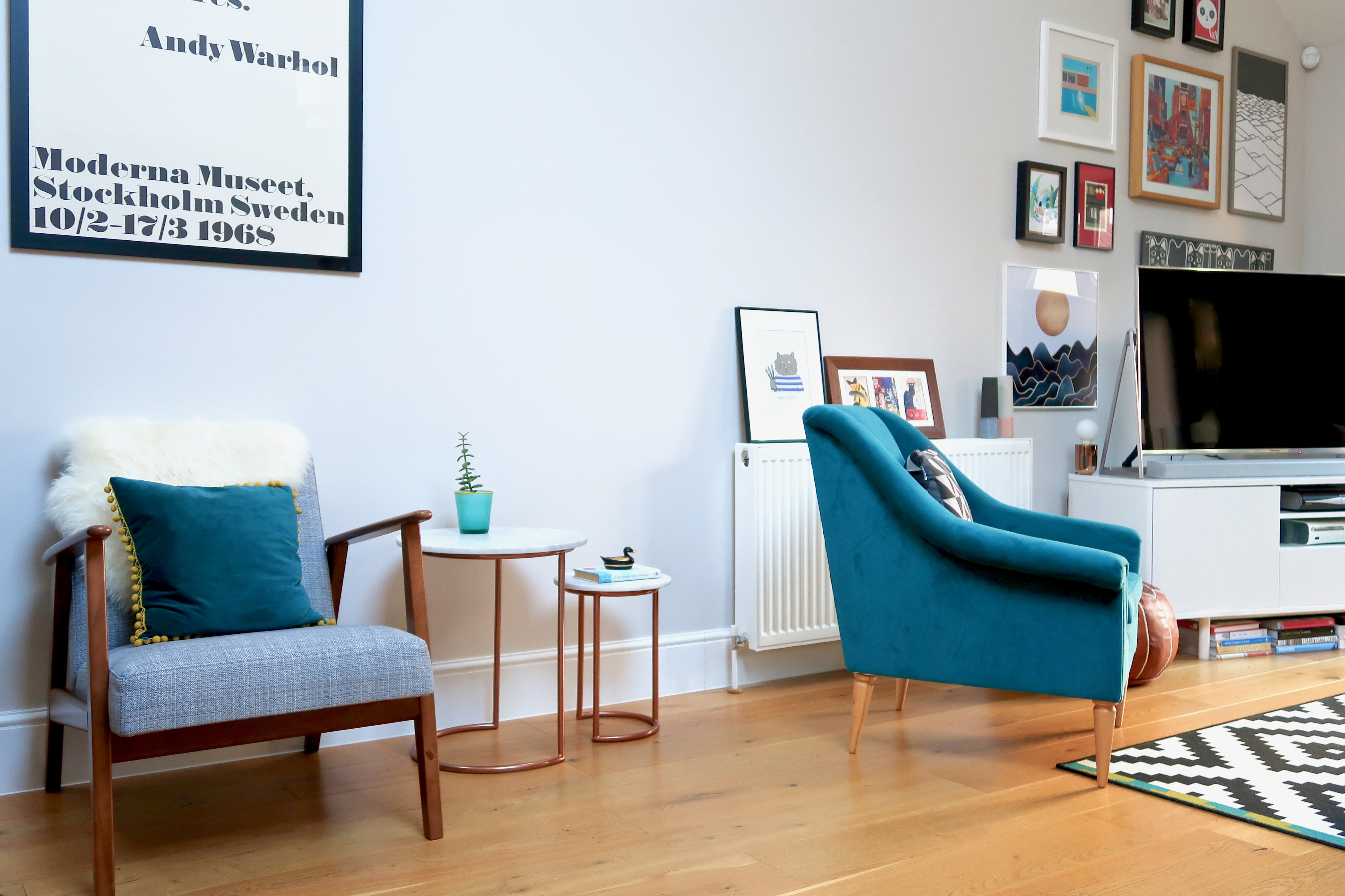 Living-room tour, Perch and Parrow Ikea armchairs