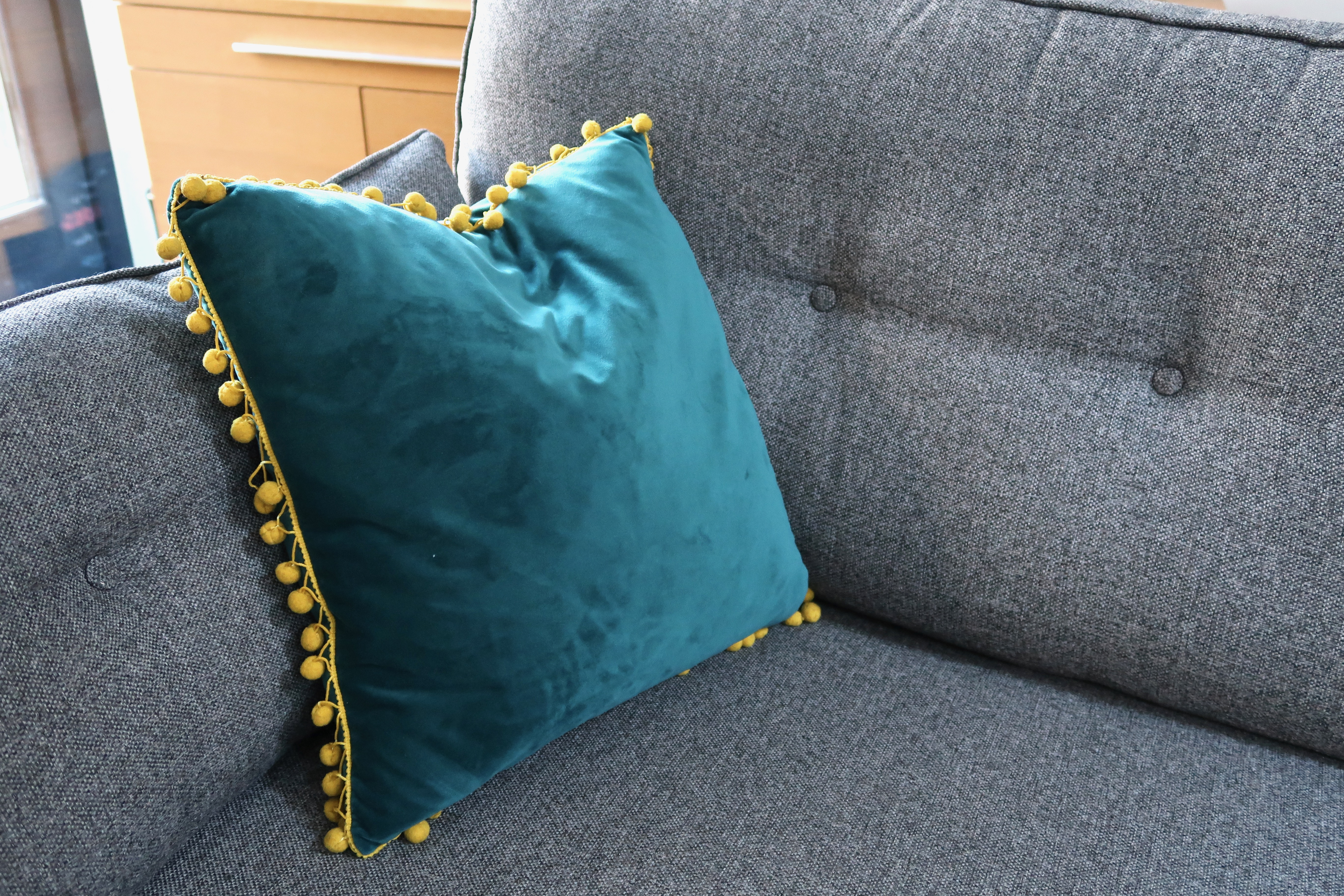 French Connection Zinc sofa teal velvet cushion