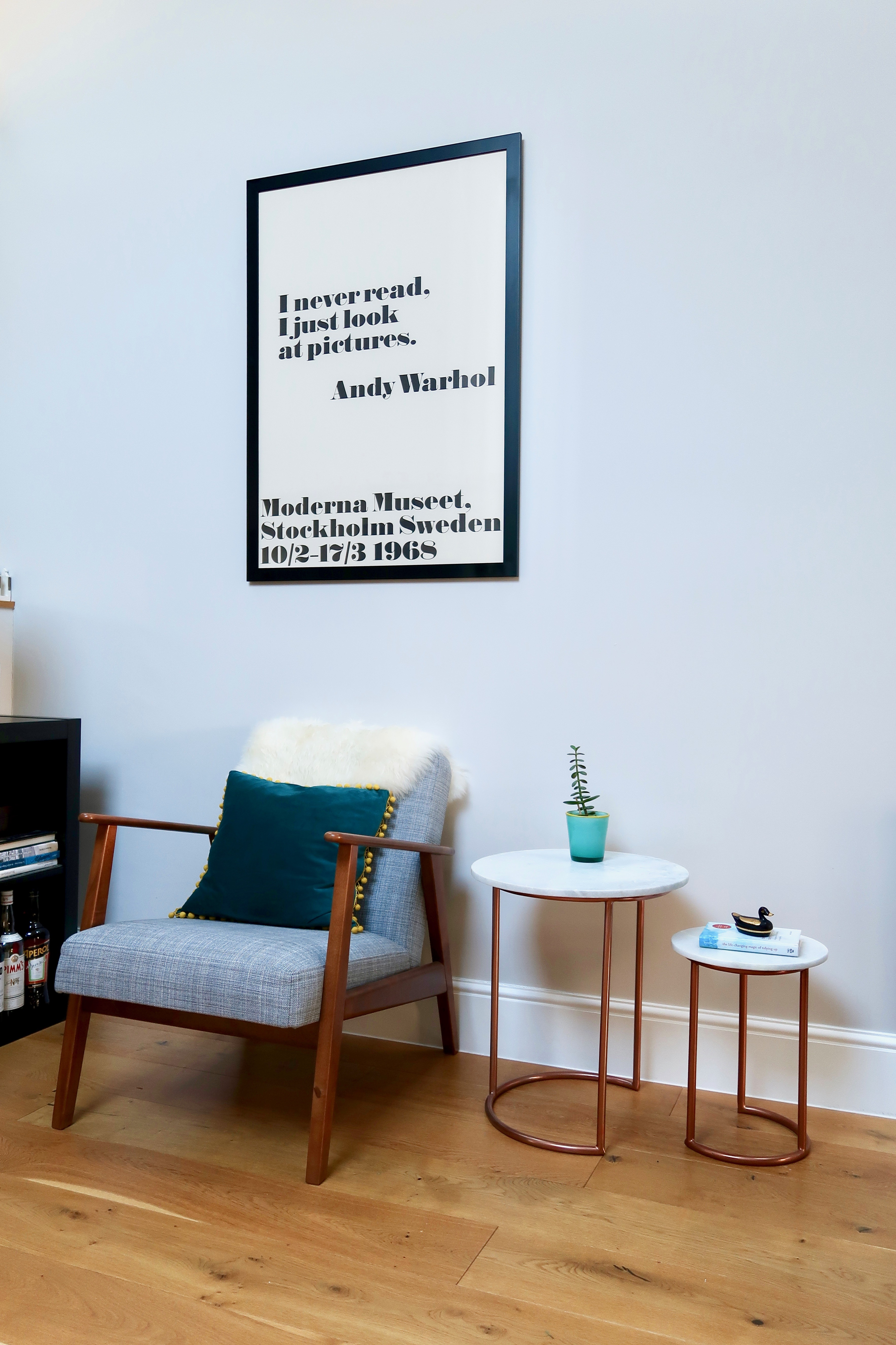 Ikea armchair, Andy Warhol poster, Oliver Bonas marble tables