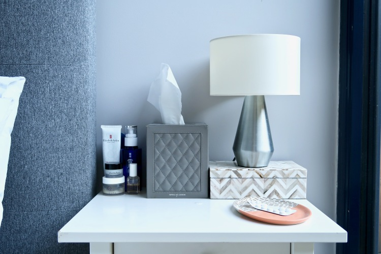 Habitat lamp, Aspinal of London tissue box, Oliver Bonas box and tray