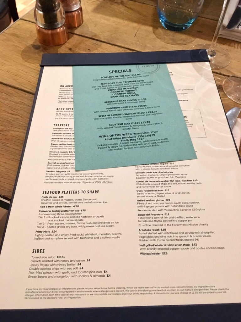 Fishworks menu